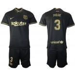 2020/21 Barcelona #3 Gerard Pique Away Black Replica Jersey
