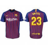 2018/19 Barcelona #23 UMTITI Home Authentic Blue & Red Stripes Jersey