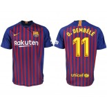 2018/19 Barcelona #11 O. DEMBELE Home Authentic Blue & Red Stripes Jersey