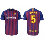 2018/19 Barcelona #5 SERGIO Home Authentic Blue & Red Stripes Jersey