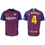 2018/19 Barcelona #4 I. RAKITIC Home Authentic Blue & Red Stripes Jersey