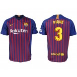 2018/19 Barcelona #3 PIQUE Home Authentic Blue & Red Stripes Jersey