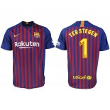 2018/19 Barcelona #1 TER STEGEN Home Authentic Blue & Red Stripes Jersey