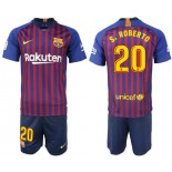 Youth 2018/19 Barcelona #20 S. ROBERTO Home Blue & Red Stripes Jersey
