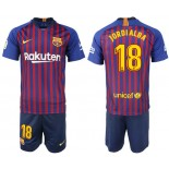 Youth 2018/19 Barcelona #18 JORDI ALBA Home Blue & Red Stripes Jersey