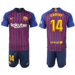 Youth 2018/19 Barcelona #14 CRUYFF Home Blue & Red Stripes Jersey