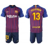 Youth 2018/19 Barcelona #13 CILLESSEN Home Blue & Red Stripes Jersey