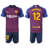 Youth 2018/19 Barcelona #12 RAFINHA Home Blue & Red Stripes Jersey