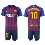 Youth 2018/19 Barcelona #10 RONALDINHO Home Blue & Red Stripes Jersey