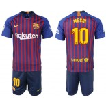 Youth 2018/19 Barcelona #10 MESSI Home Blue & Red Stripes Jersey