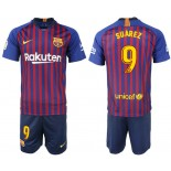 Youth 2018/19 Barcelona #9 SUAREZ Home Blue & Red Stripes Jersey