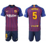 Youth 2018/19 Barcelona #5 SERGIO Home Blue & Red Stripes Jersey