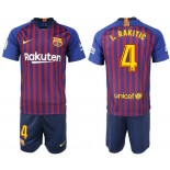 Youth 2018/19 Barcelona #4 I. RAKITIC Home Blue & Red Stripes Jersey
