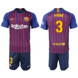 Youth 2018/19 Barcelona #3 PIQUE Home Blue & Red Stripes Jersey