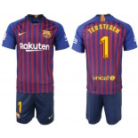 Youth 2018/19 Barcelona #1 TER STEGEN Home Blue & Red Stripes Jersey