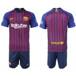 Youth 2018/19 Barcelona Home Blue & Red Stripes Jersey
