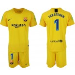 2018/19 Barcelona #1 TER STEGEN Goalkeeper Short Shirt Yellow Jersey