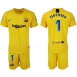 2018/19 Barcelona #1 TER STEGEN Goalkeeper Short Shirt Yellow Jersey