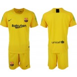 2018/19 Barcelona Goalkeeper Short Shirt Yellow