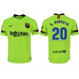 2018/19 Barcelona #20 S. ROBERTO Away Authentic Light Yellow/Green Jersey