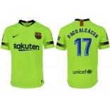 2018/19 Barcelona #17 PACO ALCACER Away Authentic Light Yellow/Green Jersey
