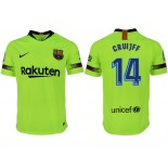 2018/19 Barcelona #14 CRUYFF Away Authentic Light Yellow/Green Jersey