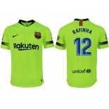 2018/19 Barcelona #12 RAFINHA Away Authentic Light Yellow/Green Jersey