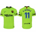 2018/19 Barcelona #11 O. DEMBELE Away Authentic Light Yellow/Green Jersey