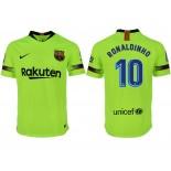 2018/19 Barcelona #10 RONALDINHO Away Authentic Light Yellow/Green Jersey