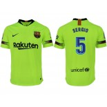 2018/19 Barcelona #5 SERGIO Away Authentic Light Yellow/Green Jersey
