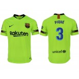 2018/19 Barcelona #3 PIQUE Away Authentic Light Yellow/Green Jersey
