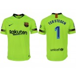 2018/19 Barcelona #1 TER STEGEN Away Authentic Light Yellow/Green Jersey