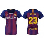 Women 2018/19 Barcelona #23 UMTITI Home Replica Blue & Red Stripes Jersey