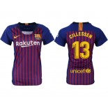 Women 2018/19 Barcelona #13 CILLESSEN Home Authentic Blue & Red Stripes Jersey