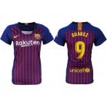 Women 2018/19 Barcelona #9 SUAREZ Home Replica Blue & Red Stripes Jersey