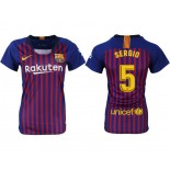 Women 2018/19 Barcelona #5 SERGIO Home Authentic Blue & Red Stripes Jersey