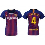 Women 2018/19 Barcelona #4 I. RAKITIC Home Authentic Blue & Red Stripes Jersey