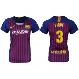 Women 2018/19 Barcelona #3 PIQUE Home Authentic Blue & Red Stripes Jersey