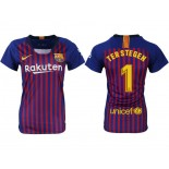 Women 2018/19 Barcelona #1 TER STEGEN Home Replica Blue & Red Stripes Jersey