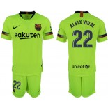 Youth 2018/19 Barcelona #22 ARTURO VIDAL Away Light Yellow/Green Jersey