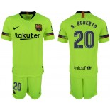 Youth 2018/19 Barcelona #20 S. ROBERTO Away Light Yellow/Green Jersey