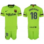 Youth 2018/19 Barcelona #18 JORDI ALBA Away Light Yellow/Green Jersey