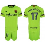 Youth 2018/19 Barcelona #17 PACO ALCACER Away Light Yellow/Green Jersey