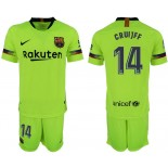 Youth 2018/19 Barcelona #14 CRUYFF Away Light Yellow/Green Jersey