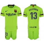 Youth 2018/19 Barcelona #13 CILLESSEN Away Light Yellow/Green Jersey