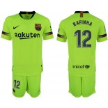 Youth 2018/19 Barcelona #12 RAFINHA Away Light Yellow/Green Jersey