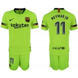 2018/19 Barcelona #11 NEYMAR JR Away Replica Light Yellow/Green Jersey