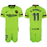 Youth 2018/19 Barcelona #11 O. DEMBELE Away Light Yellow/Green Jersey