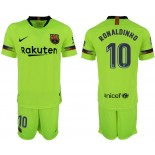 Youth 2018/19 Barcelona #10 RONALDINHO Away Light Yellow/Green Jersey