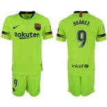 Youth 2018/19 Barcelona #9 SUAREZ Away Light Yellow/Green Jersey